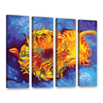 Brushstone Two Sunflowers 4-pc. Gallery Wrapped Canvas Set