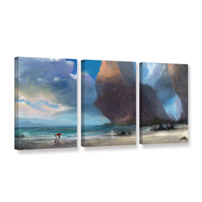 Brushstone Walk On The Beach 3-pc. Gallery WrappedCanvas Wall Art