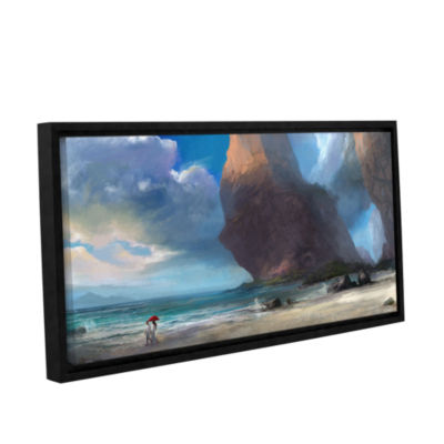 Brushstone Walk On The Beach Gallery Wrapped Floater-Framed Canvas Wall Art