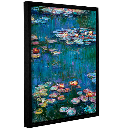 Brushstone Water Lillies By Claude Monet Gallery Wrapped Floater-Framed Canvas Wall Art