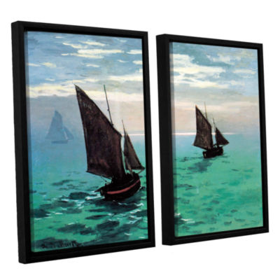 Brushstone Two Sailboats 2-pc. Floater Framed Canvas Set