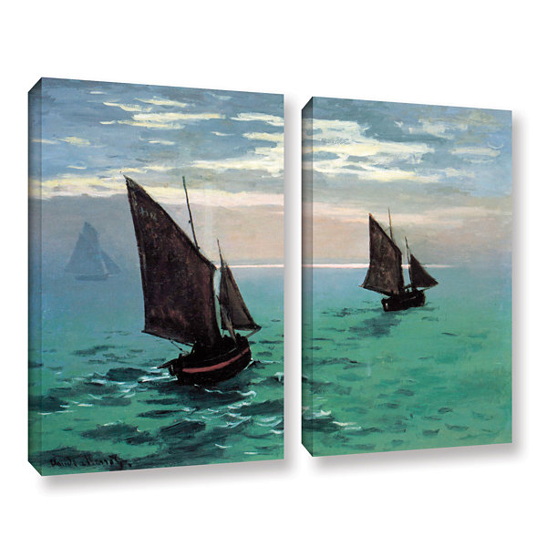 Brushstone Two Sailboats By Claude Monet 2-pc. Gallery Wrapped Canvas Wall Art