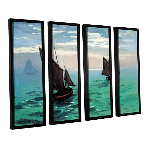 Brushstone Two Sailboats 4-pc. Floater Framed Canvas Set