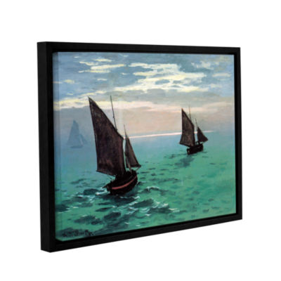Brushstone Two Sailboats By Claude Monet Gallery Wrapped Floater-Framed Canvas Wall Art