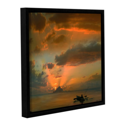 Brushstone Sunset On The Water Gallery Wrapped Floater-Framed Canvas Wall Art