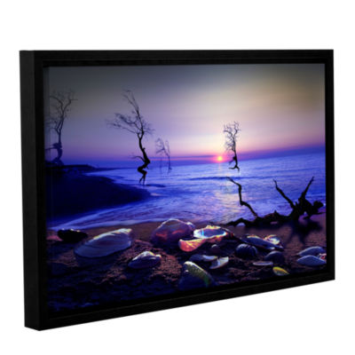 Brushstone Sunset Run Gallery Wrapped Floater-Framed Canvas Wall Art