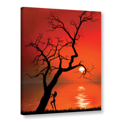 Brushstone Sunset Silhouettes Gallery Wrapped Canvas Wall Art