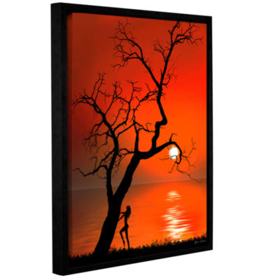 Brushstone Sunset Silhouettes Gallery Wrapped Floater-Framed Canvas Wall Art