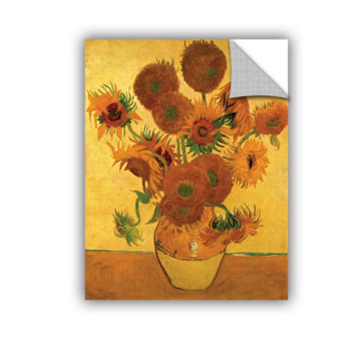Brushstone Vase with Fifteen Sunflowers RemovableWall Decal