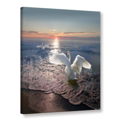 Brushstone Swan Sunset Gallery Wrapped Canvas WallArt