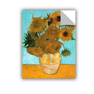Brushstone Vases With Twelve Sunflowers RemovableWall Decal