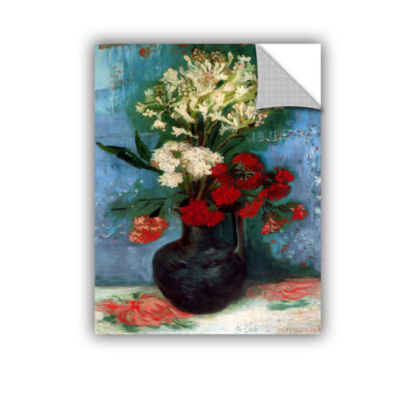 Brushstone Vase with Carnations and Other FlowersRemovable Wall Decal
