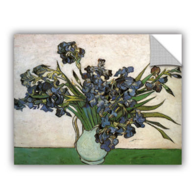 Brushstone Vase with Purple Irises Against a PinkBackground Removable Wall Decal
