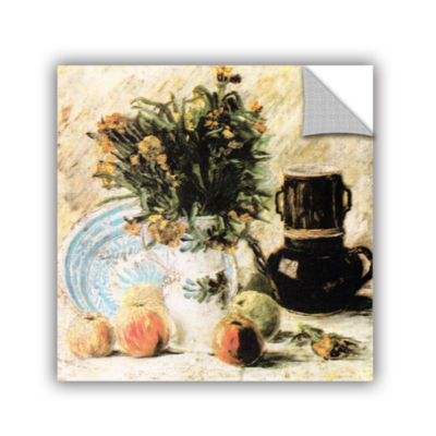 Brushstone Vase of Flowers  Coffee Pot  and Some Fruit Removable Wall Decal