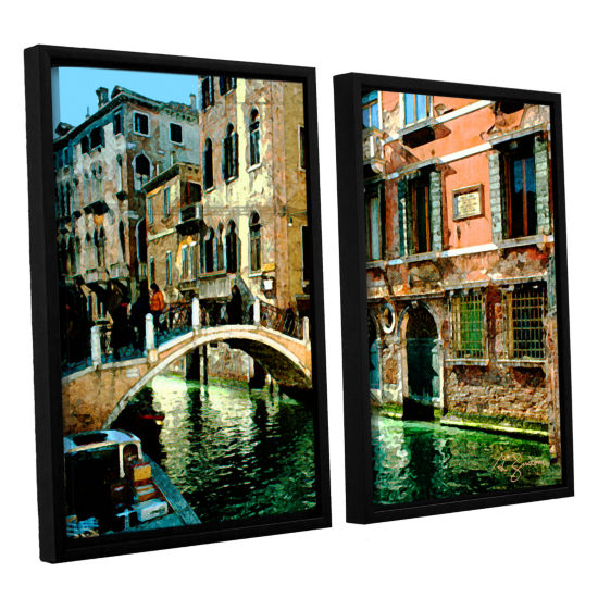 Brushstone Venice Canal 2-pc. Floater Framed Canvas Wall Art