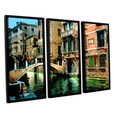Brushstone Venice Canal 3-pc. Floater Framed Canvas Wall Art