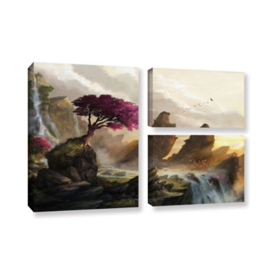 Brushstone Blossom Sunset 3-pc. Flag Gallery Wrapped Canvas Wall Art