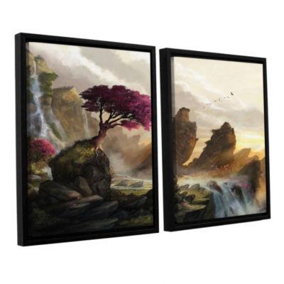 Brushstone Blossom Sunset 2-pc. Floater Framed Canvas Wall Art