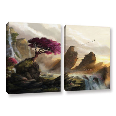 Brushstone Blossom Sunset 2-pc. Gallery Wrapped Canvas Wall Art