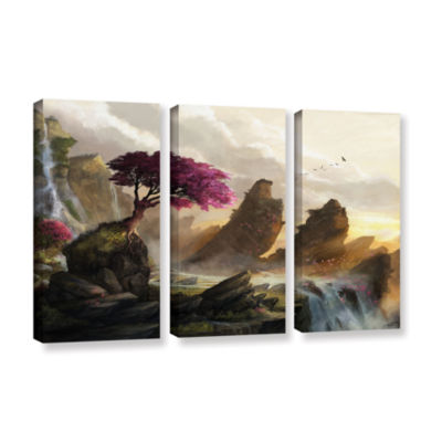 Brushstone Blossom Sunset 3-pc. Gallery Wrapped Canvas Wall Art