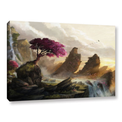 Brushstone Blossom Sunset Gallery Wrapped Canvas Wall Art