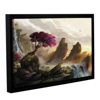 Brushstone Blossom Sunset Gallery Wrapped Floater-Framed Canvas Wall Art