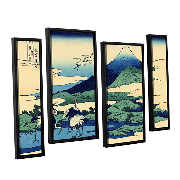 Blue Mt. Fuji At Dawn Near Oiso 4-pc. Floater Framed Staggered Canvas Wall Art