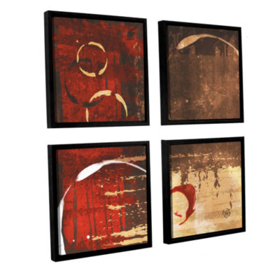 Brushstone Grunged Red Revolution I 4-pc. Square Floater Framed Canvas Wall Art