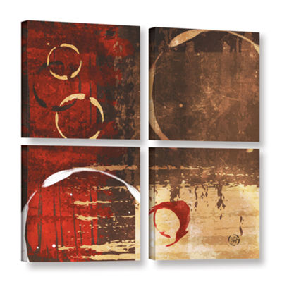 Brushstone Grunged Red Revolution I 4-pc. Square Gallery Wrapped Canvas Wall Art