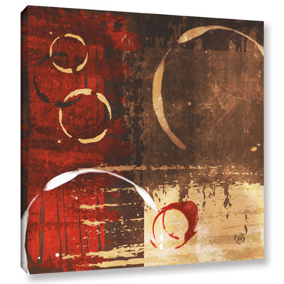 Brushstone Grunged Red Revolution I Gallery Wrapped Canvas Wall Art