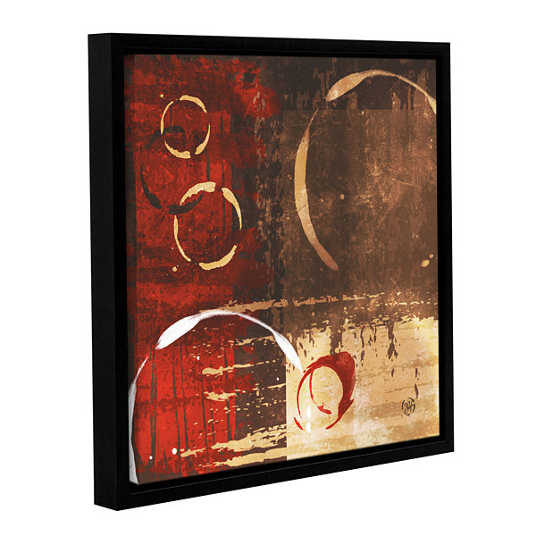 Brushstone Grunged Red Revolution I Gallery Wrapped Floater-Framed Canvas Wall Art