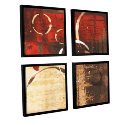 Brushstone Grunged Red Revolution II 4-pc. SquareFloater Framed Canvas Wall Art