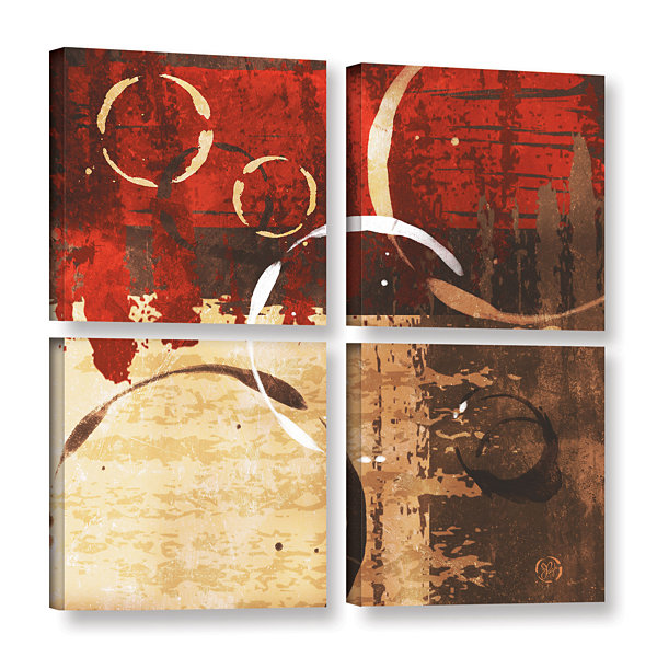 Brushstone Grunged Red Revolution II 4-pc. SquareGallery Wrapped Canvas Wall Art