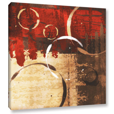 Brushstone Grunged Red Revolution II Gallery Wrapped Canvas Wall Art