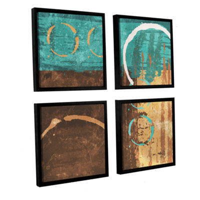 Brushstone Grunged Revolution I 4-pc. Square Floater Framed Canvas Wall Art