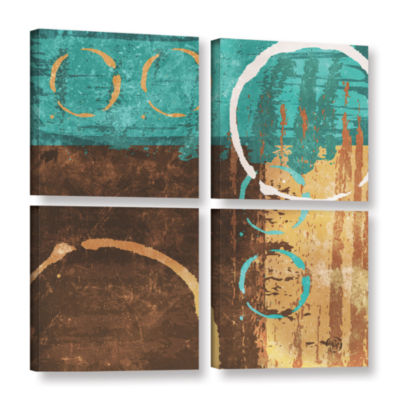 Brushstone Grunged Revolution I 4-pc. Square Gallery Wrapped Canvas Wall Art