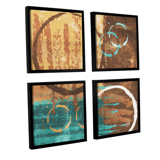 Brushstone Grunged Revolution II 4-pc. Square Floater Framed Canvas Wall Art