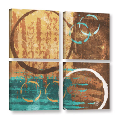 Brushstone Grunged Revolution II 4-pc. Square Gallery Wrapped Canvas Wall Art