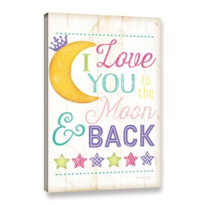 Brushstone I Love You To The Moon Girl Gallery Wrapped Canvas Wall Art