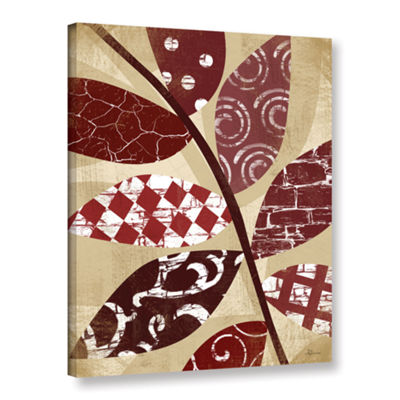 Brushstone Red Leaves II Gallery Wrapped Canvas Wall Art