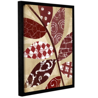 Brushstone Red Leaves II Gallery Wrapped Floater-Framed Canvas Wall Art