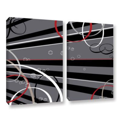 Brushstone Black Grey Memo Board 2-pc. Gallery Wrapped Canvas Wall Art