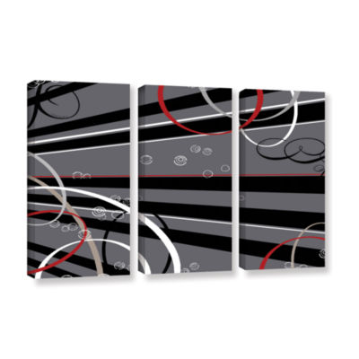 Brushstone Black Grey Memo Board 3-pc. Gallery Wrapped Canvas Wall Art