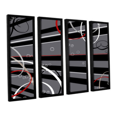 Brushstone Black Grey Memo Board 4-pc. Floater Framed Canvas Wall Art