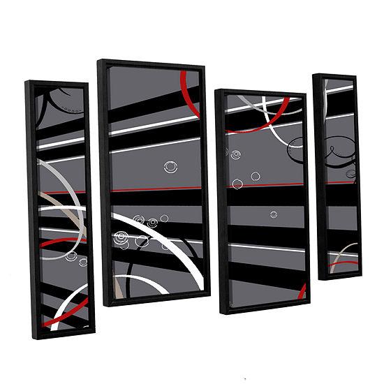 Brushstone Black Grey Memo Board 4-pc. Floater Framed Staggered Canvas Wall Art