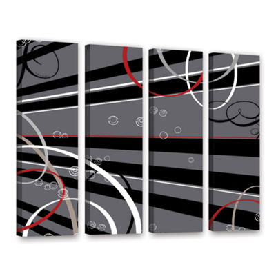Brushstone Black Grey Memo Board 4-pc. Gallery Wrapped Canvas Wall Art