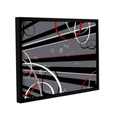 Brushstone Black Grey Memo Board Gallery Wrapped Floater-Framed Canvas Wall Art