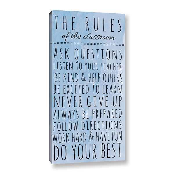 Brushstone Blue Rules of The Classroom Gallery Wrapped Canvas Wall Art