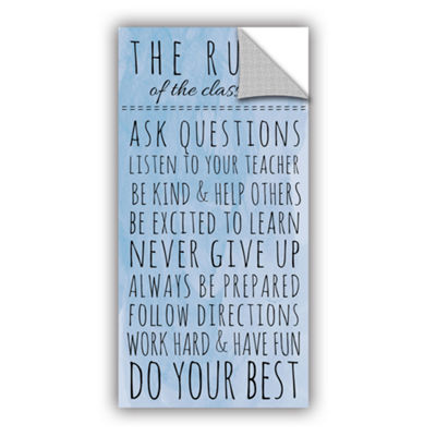 Brushstone Blue Rules of The Classroom Removable Wall Decal