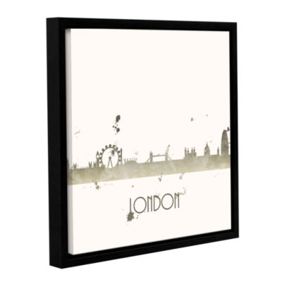 Brushstone Grey London I Gallery Wrapped Floater-Framed Canvas Wall Art